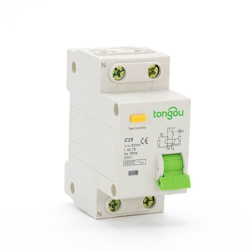 2 Pole RCBO 25A Residual Current Circuit Breaker with Overcurrent Protection