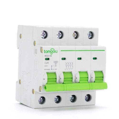 TOMC3-63 3KA 110V 220V Curve C 4P 25A Mini Circuit Breaker MCB