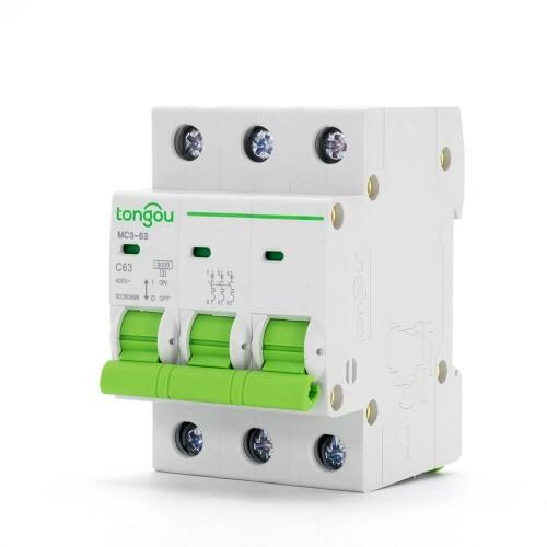 TOMC3-63 3KA 110V 220V Curve C 3P 63A Mini Circuit Breaker MCB
