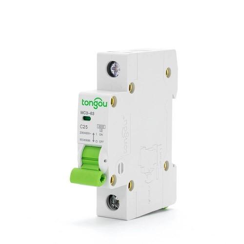 TOMC3-63 3KA 110V 220V Curve C 1P 25A Miniature Circuit Breaker MCB