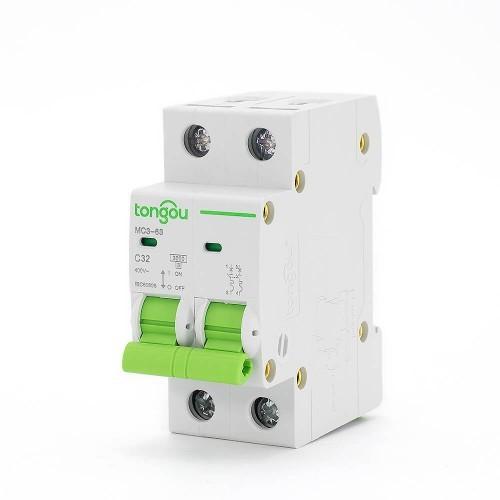 TOMC3-63 3KA 110V 220V Curve C 2P 63A Mini Circuit Breaker MCB