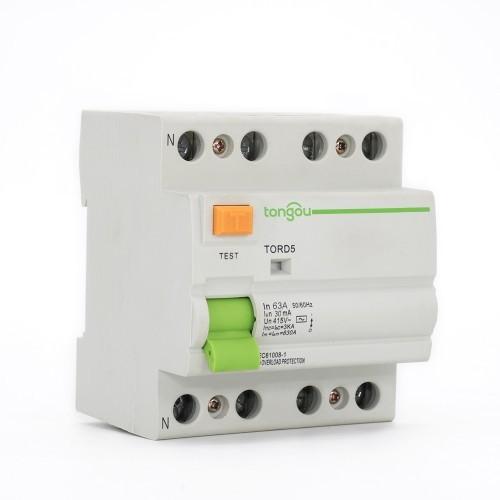 TORD5-63 4P 63A 30mA RCCB A/AC Type Residual Current Circuit Breaker  RCD