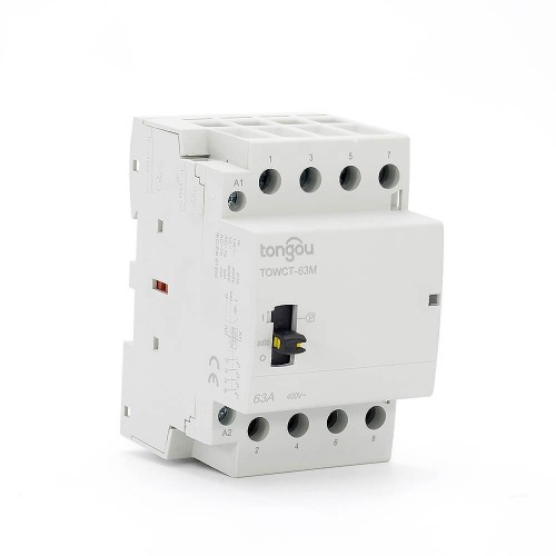 63 amp 4 Pole Contactor AC 4NO Din Rail Household Modular  With Manual Control Switch TOWCTH-63/4