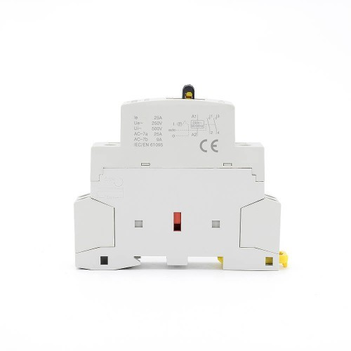 2 Pole Contactor AC 25A 2NO CE CB Din Rail Household Modular 220V/230V With Manual Control Switch TOWCTH-25/2