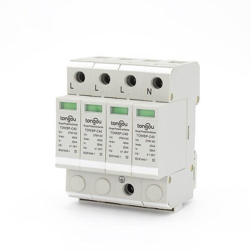 SPD AC 4P 20KA~40KA House Surge Protector UK Protection Protective Low-voltage Arrester Device