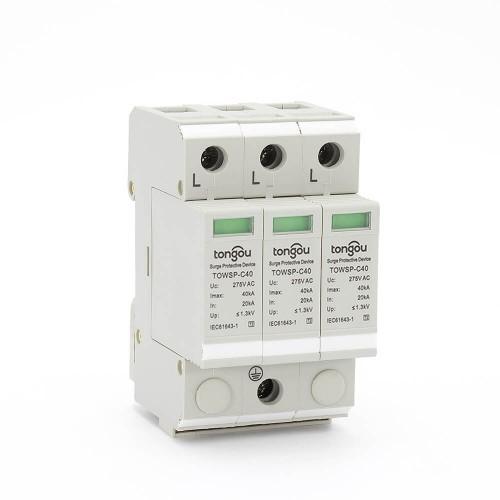 SPD 3P 20KA~40KA power surge protector for house / TONGOU