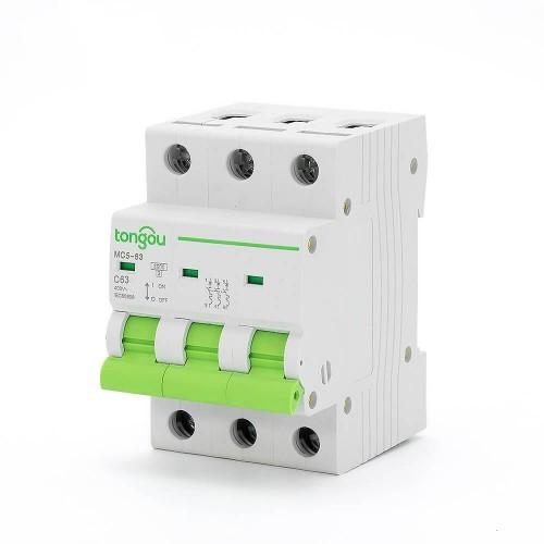 TOMC5-63 3KA 110V 220V Curve C 3P 63A Mini Circuit Breaker MCB