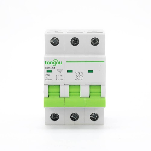 TOMC5-63 3KA 110V 220V Curve C 3P 32A Mini Circuit Breaker MCB