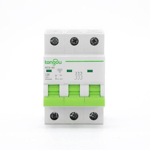 TOMC5-63 3KA 110V 220V Curve C 3P 25A Mini Circuit Breaker MCB