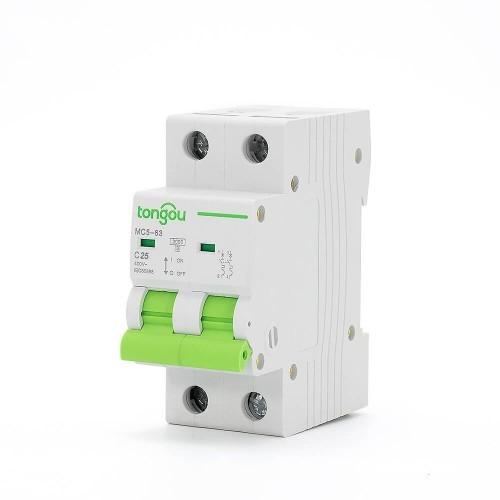 TOMC5-63 3KA 110V 220V Curve C 2P 25A Mini Circuit Breaker MCB