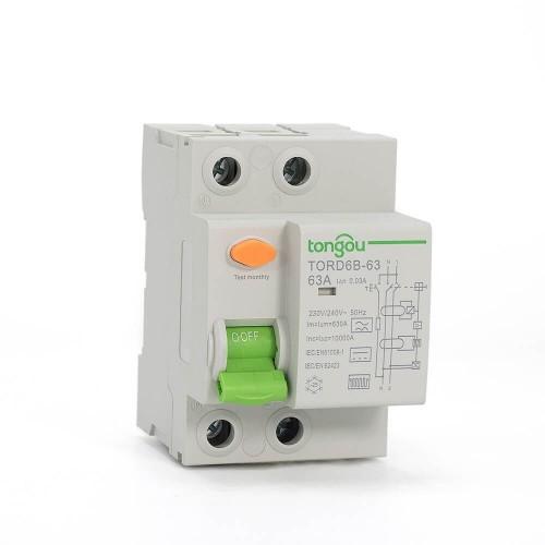 TORD6B-63 2Pole Type B RCD 16A-63A 30mA Residual Current Circuit Breaker RCCB