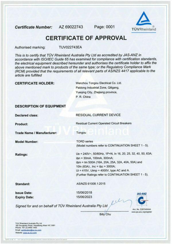 TUV SAA AS/NZS 61008 Certificate