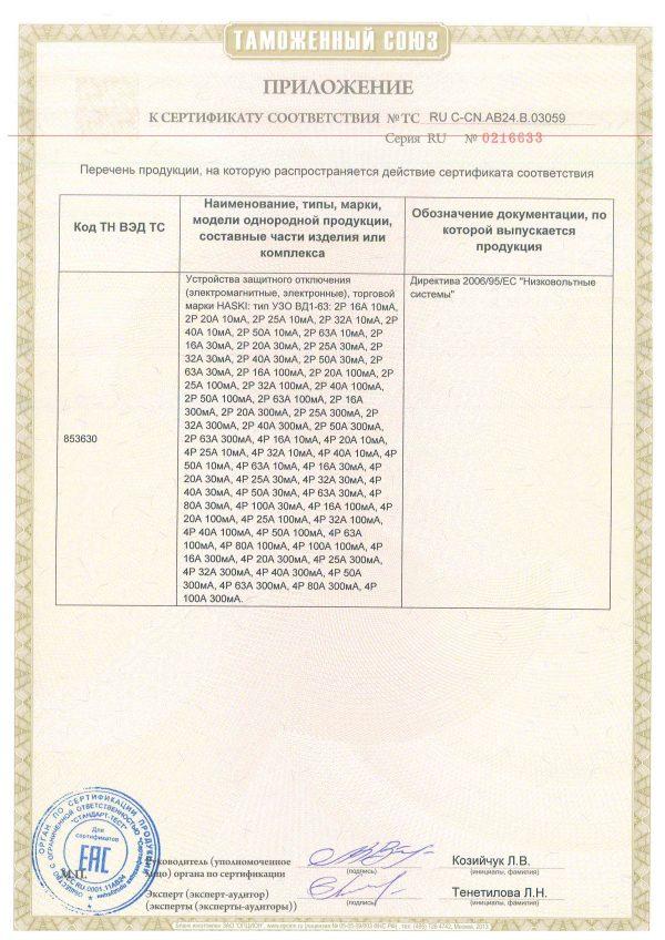 Electric EAC Russian certificate